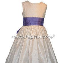 Periwinkle and new ivory silk flower girl dress Style 398