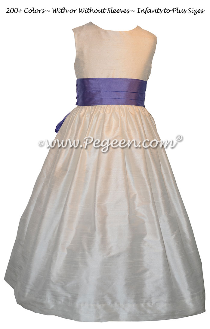 Periwinkle and new ivory silk flower girl dress
