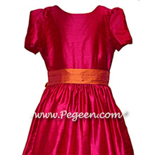 Custom Raspberry Pink and Mango Silk Flower Girl Dress