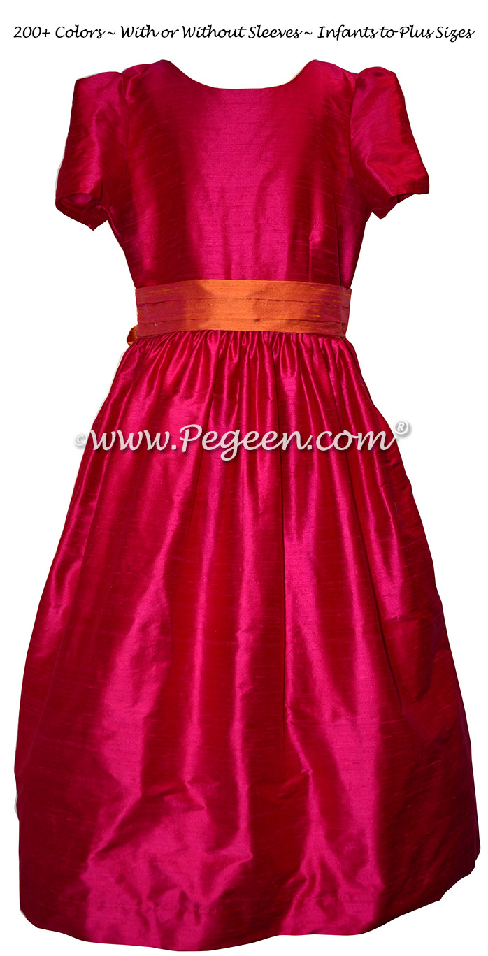 Custom Raspberry Pink and Mango Silk Flower Girl Dress Style 398