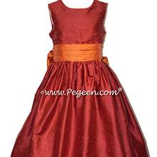 Cranberry and Mango Orange flower girl dress Style 398