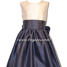 Medium Gray and New Ivory silk flower girl dress