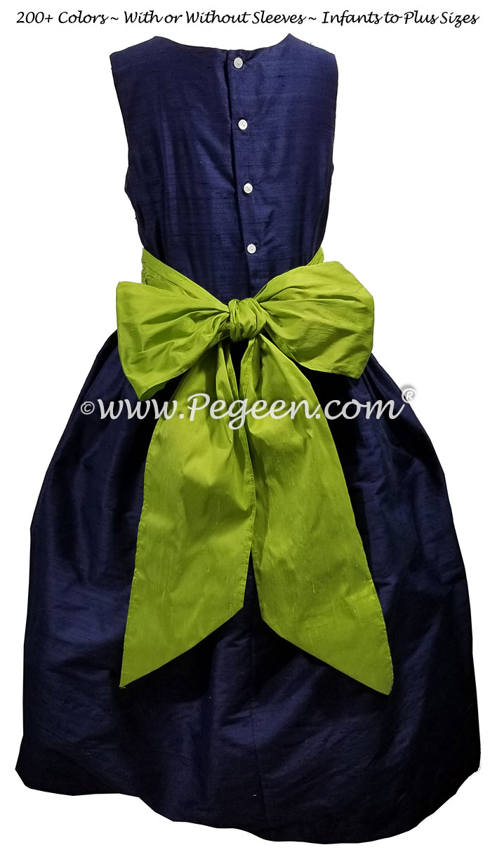 Navy and Apple Green flower girl dresses