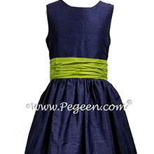 Navy and Apple Green Jr Bridesmaids dresses Style 388 | Pegeen