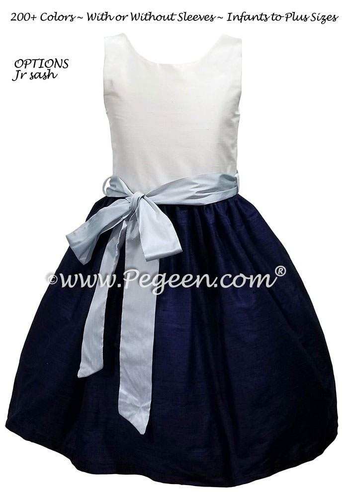 Navy and Baby Blue Jr Bridesmaids dress Style 388