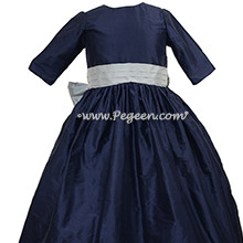 Sky Gray and Navy Blue silk flower girl dress with 3/4 sleeves