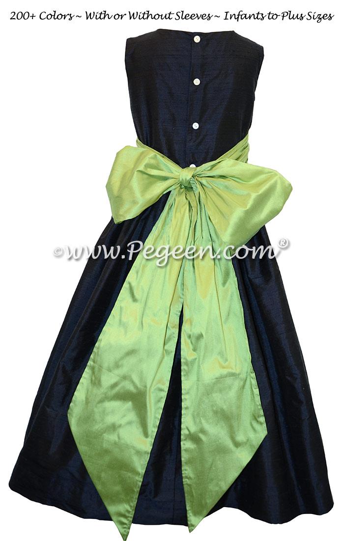 Navy Blue and Sprite Green Custom Silk Flower Girl Dresses Style 398 | Pegeen