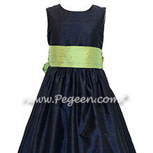 Navy Blue and Sprite Green Custom Silk Flower Girl Dresses Style 398 | Pegeen