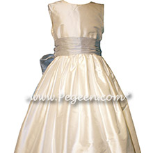 White and Light Platinum Gray Silk flower girl dresses