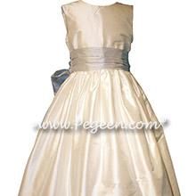 White and Light Platinum Gray Silk flower girl dresses