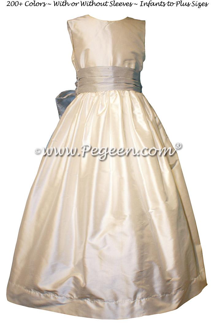 White and Light Platinum Gray Silk flower girl dresses - Style 398