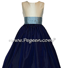 Powder blue, ivory and navy blue Silk Flower Girl Dresses