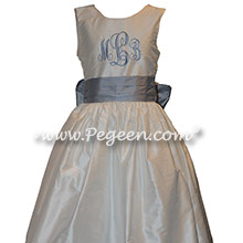 Powder Blue Monogrammed Silk Flower Girl Dresses