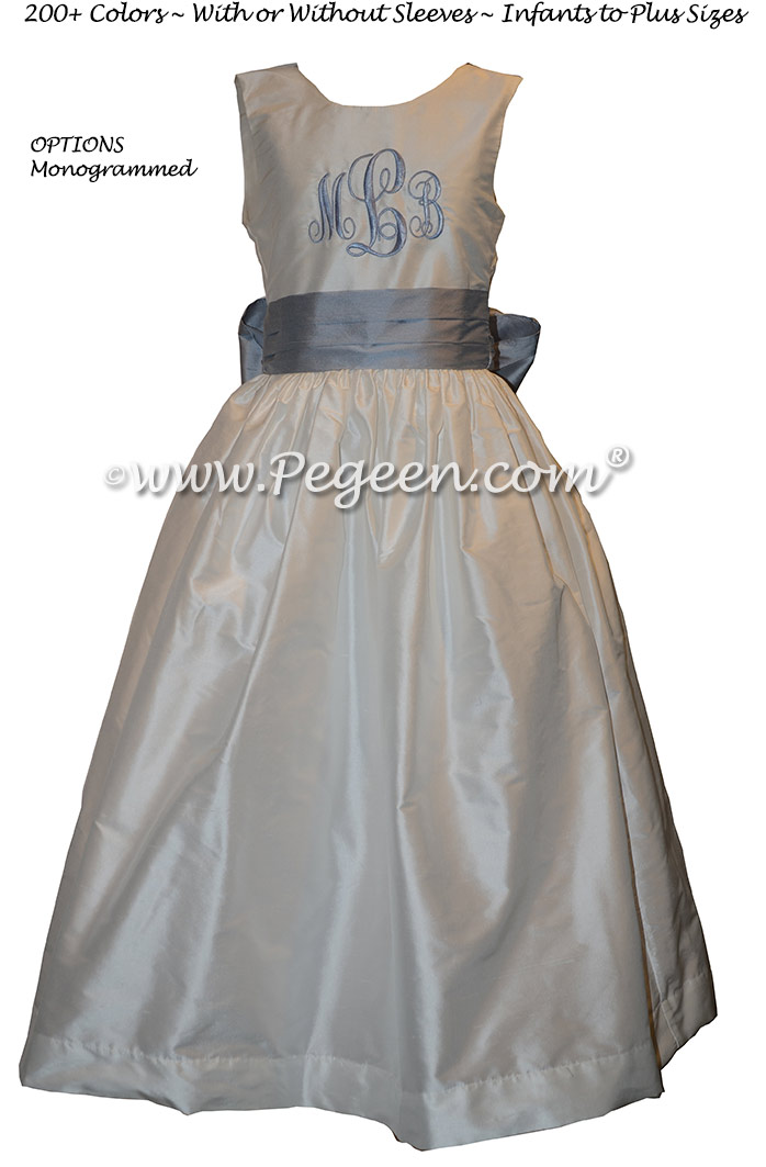 Custom Gray and Periwinkle Girl Dresses Style 398 | Pegeen