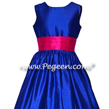 Blue Sapphire with Hot Pink Sash Custom Flower Girl Dress with V-Back