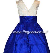 Blue Indigo Flower Girl Dress with Customers Own Fabric