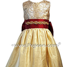 Red and Gold Sequined Silk Flower Girl Dress