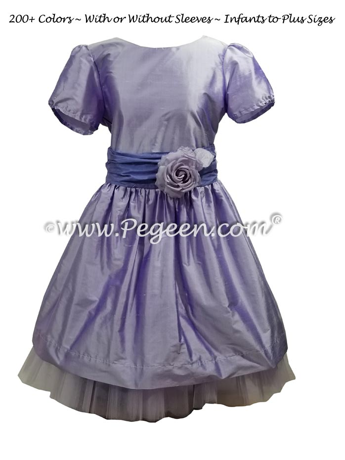 Lilac and Periwinkle flower girl dress with tulle underskirt
