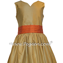 Spun Gold and Orange Custom Silk Flower Girl Dress - Style 398