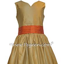 Spun Gold and Orange Custom Silk Flower Girl Dress - Style 398