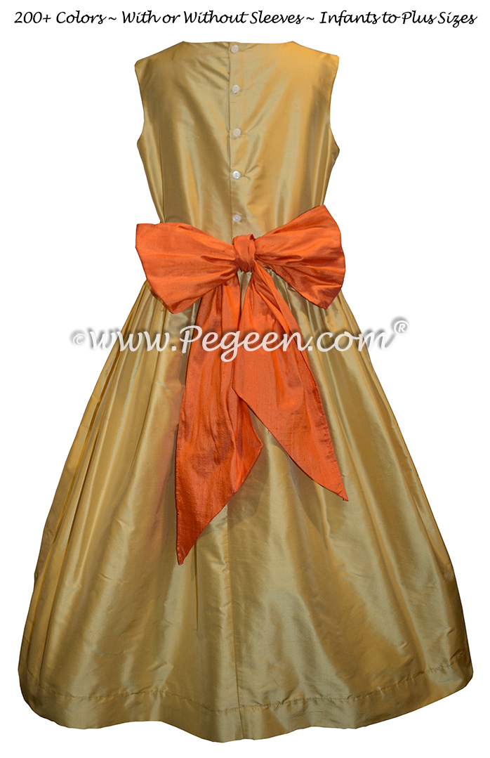 Spun Gold and Orange Custom Silk Flower Girl Dress - Style 398 | Pegeen
