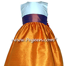 Tangerine Orange and Raisin Purple Custom Silk flower girl dresses