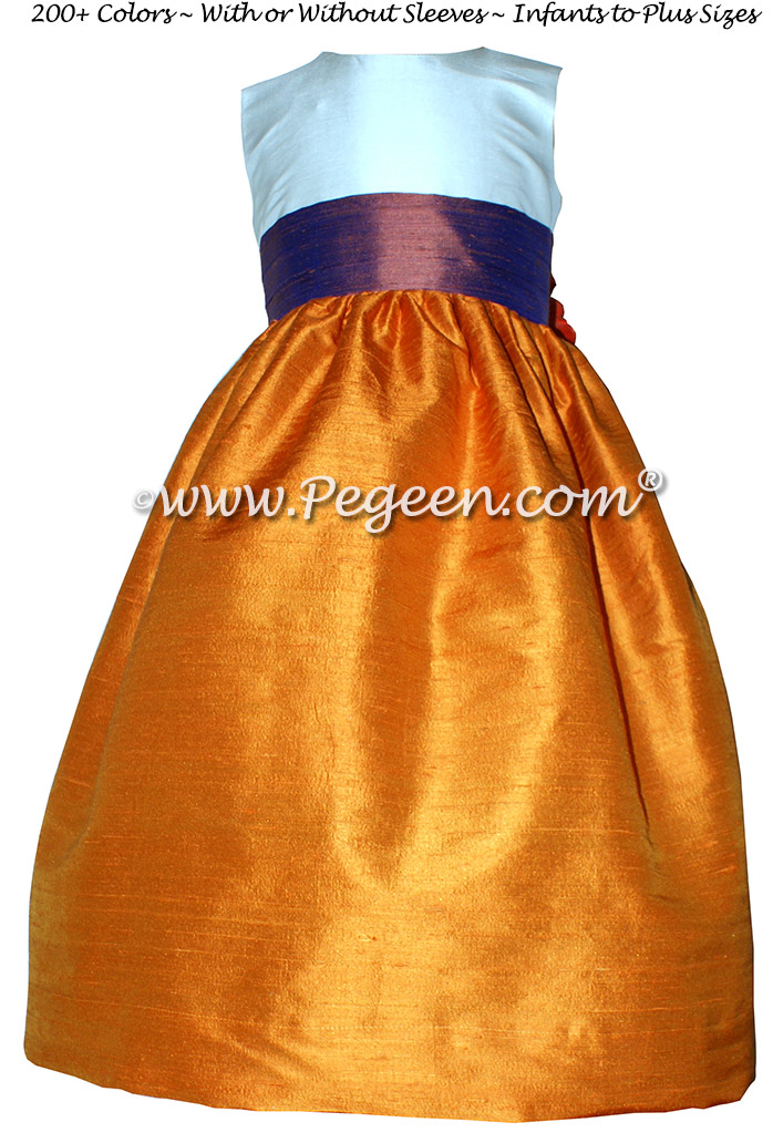 Tangerine and Raisin Purple custom silk flower girl dresses