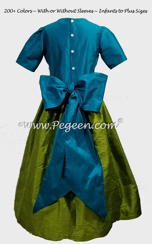 GRASS GREEN, RHINESTONES AND TURQUOISE CUSTOM FLOWER GIRL DRESSES