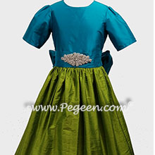 Grass green, rhinestones and turquoise custom flower girl dresses