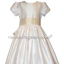 Custom Ivory and Bisque Silk Flower Girl Dresses