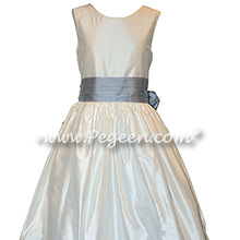 Custom Silk in Powder Blue and New Ivory Flower Girl Dresses