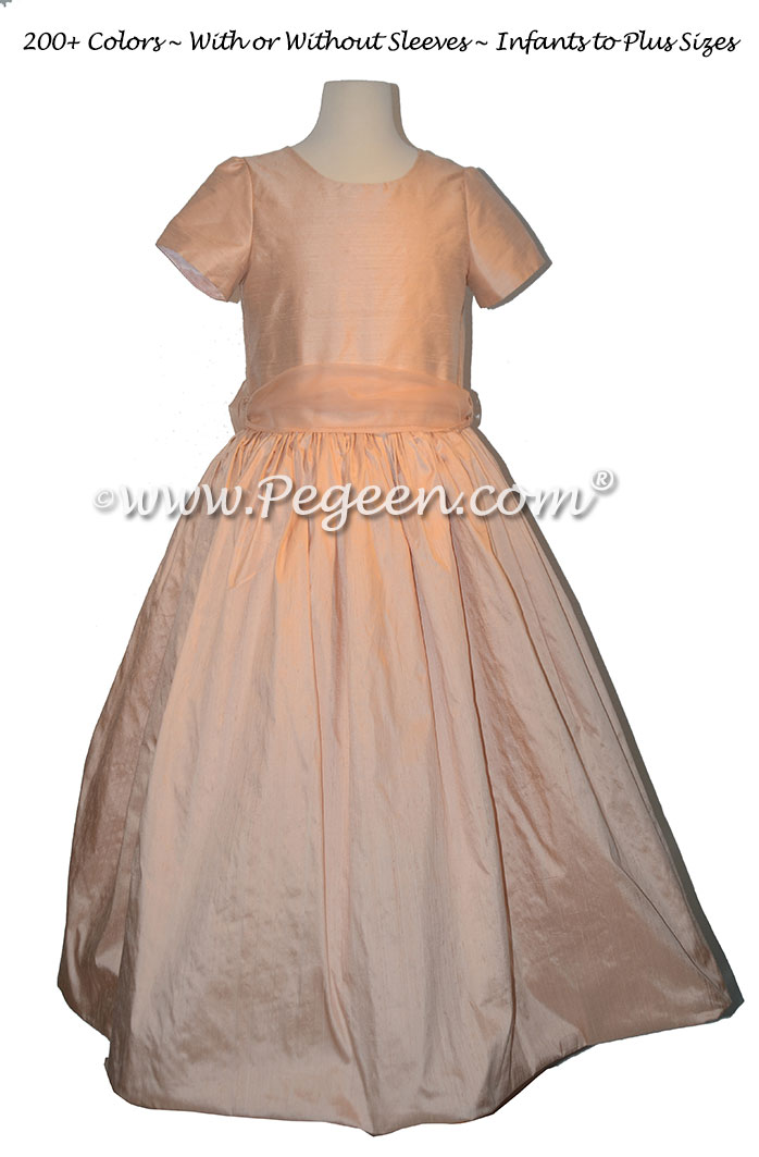 Classic Style Extra Full Silk Flower Girl Dress with Silk Organza Sash