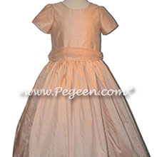 Pink Silk and Organza Silk Classic Flower Girl Dress