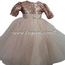 Rose gold fluffy tulle toddler flower girl dress
