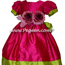 Raspberry and grass green ballerina style with hand made flowers