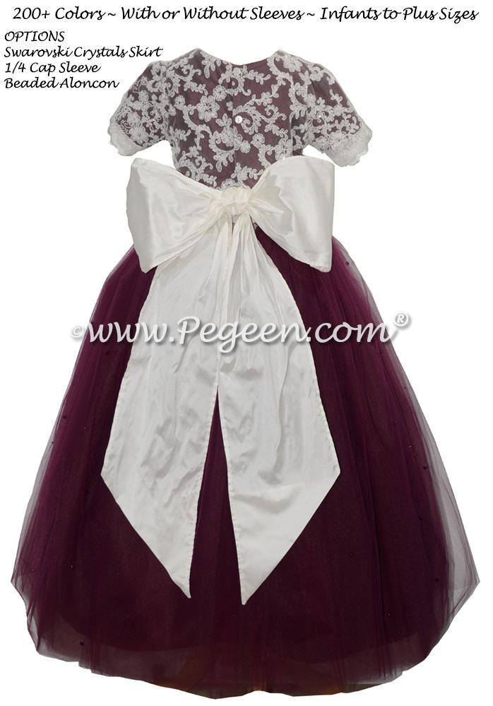 Rum Pink silk Victorian style flower girl dress