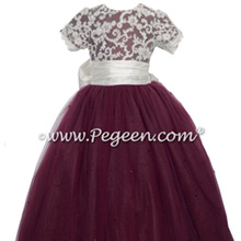 Burgundy and aloncon lace and tulle flower girl dresses