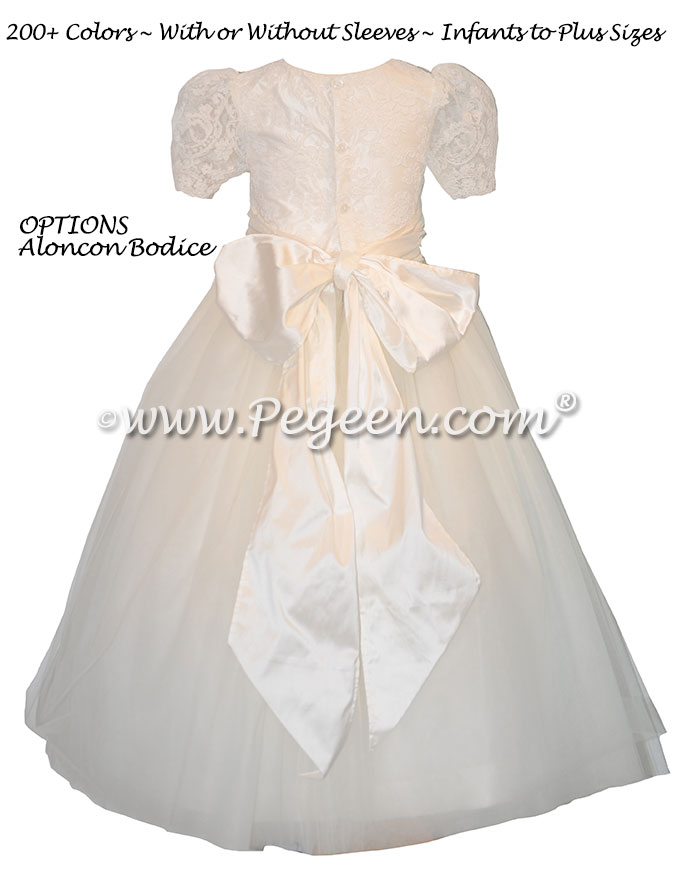 Ivory Aloncon Lace and Silk Flower Girl Dress with Tulle