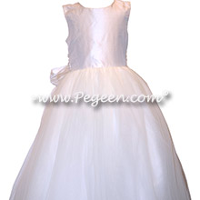 White Tulle and Silk flower girl dresses