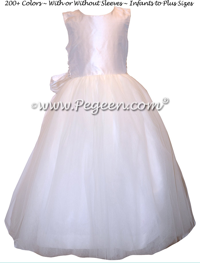 White Tulle and Silk custom couture flower girl dresses - Style 402