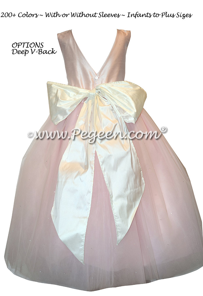 New Ivory and Peony Pink Silk flower girl dresses with Dew Drop Tulle - Style 402