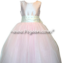 New Ivory and Peony Pink Silk flower girl dresses with Dew Drop Tulle