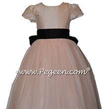 Custom Pink and Black Classic Styled Flower Girl Dress
