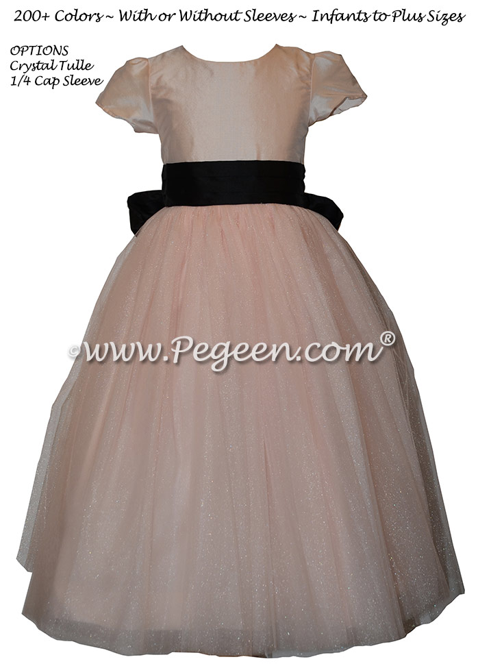 Custom Pink and Black Classic Styled Flower Girl Dress Style 402