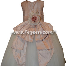 Ballet Pink and Ivory silk custom flower girl dress with back flower Dress