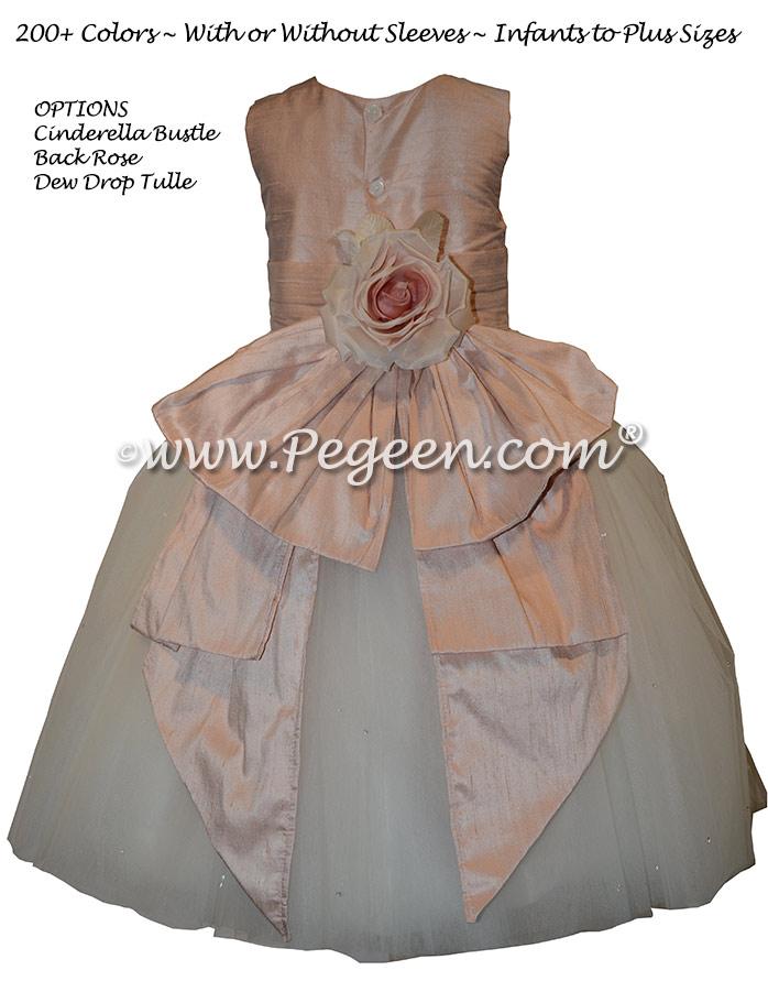 Ballet Pink and Ivory silk custom flower girl dress with back flower Dress