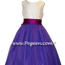 Razzleberry Blue and Fuchsia Pink Silk Flower Girl Dress
