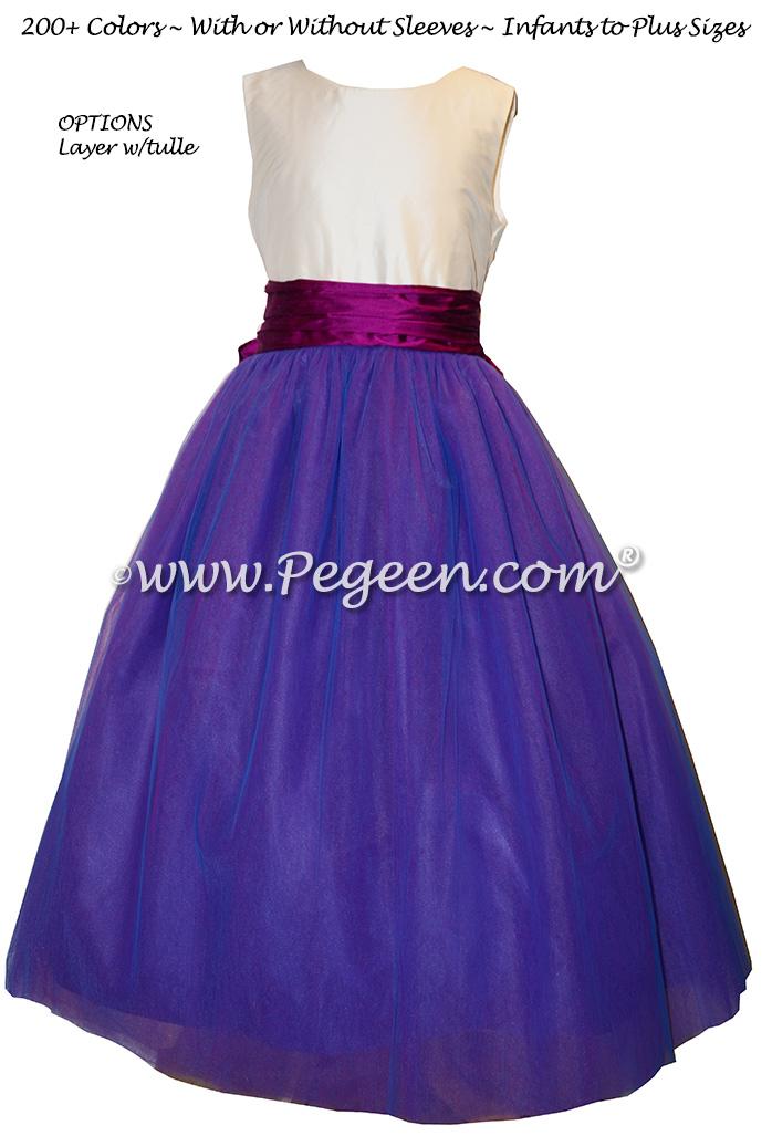 Razzleberry Blue and Fuchsia Pink Silk Flower Girl Dress
