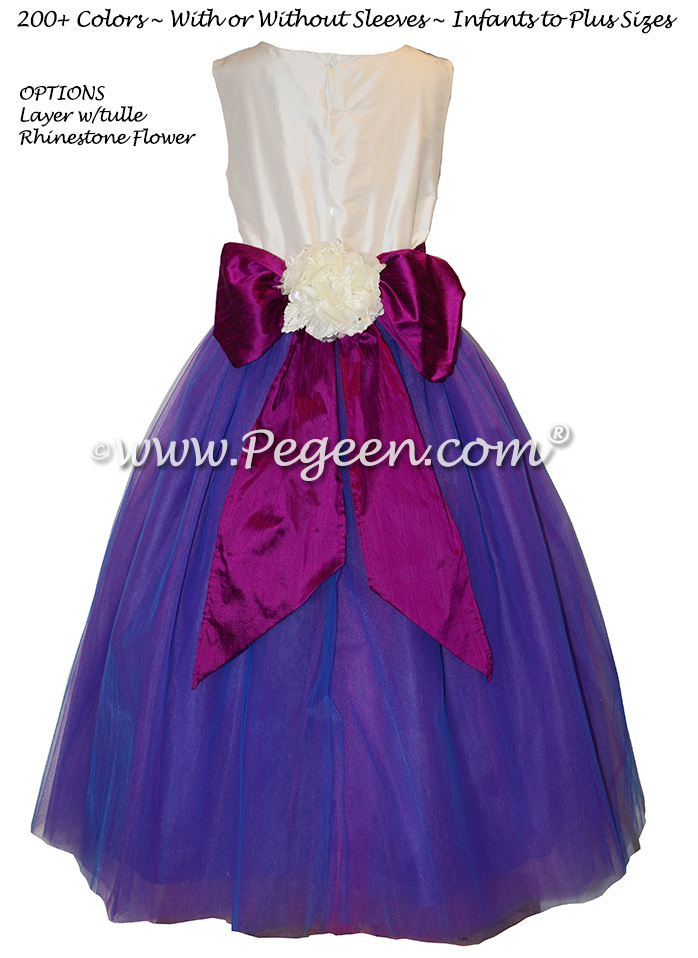 Razzleberry, Boisenberry and Irridecent Tulle Flower Girl Dress