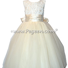 Lace Covered Tulle and Silk Couture Flower Girl Dresses